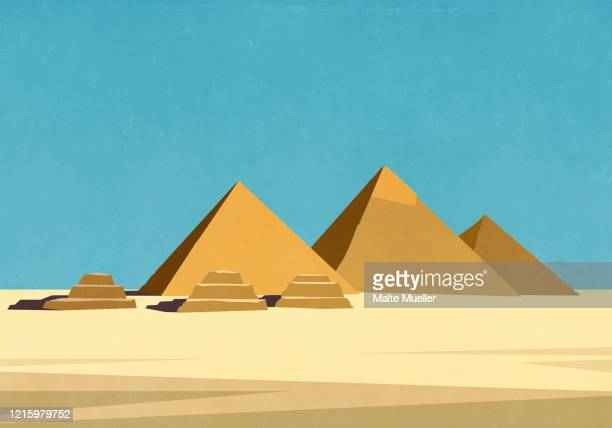 egyptian pyramids in sunny desert - history stock illustrations