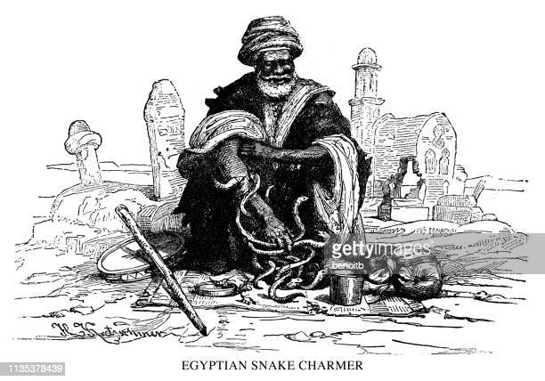 egyptian snake charmer - north african ethnicity stock illustrations, clip art, cartoons, & icons