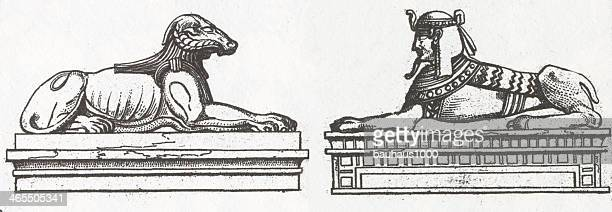 egyptian sphinx sculptures - the sphinx stock illustrations, clip art, cartoons, & icons
