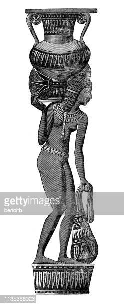 egyptian statue - north african ethnicity stock illustrations, clip art, cartoons, & icons