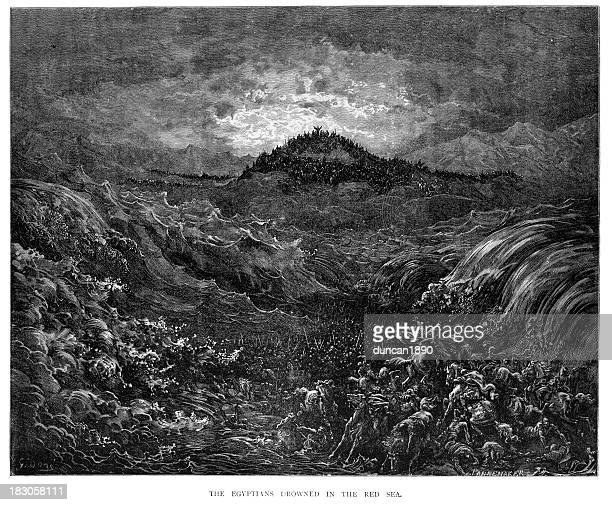 egyptians drowned in the red sea - gustave dore stock illustrations, clip art, cartoons, & icons