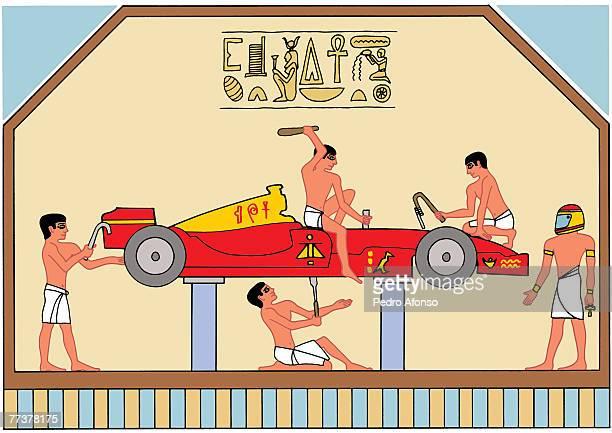 stockillustraties, clipart, cartoons en iconen met egyptians fixing a car at the car shop - pedo
