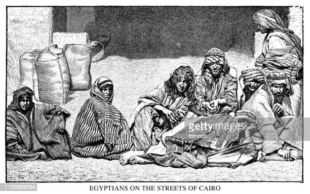 egyptians on the streets of cairo - north african ethnicity stock illustrations, clip art, cartoons, & icons