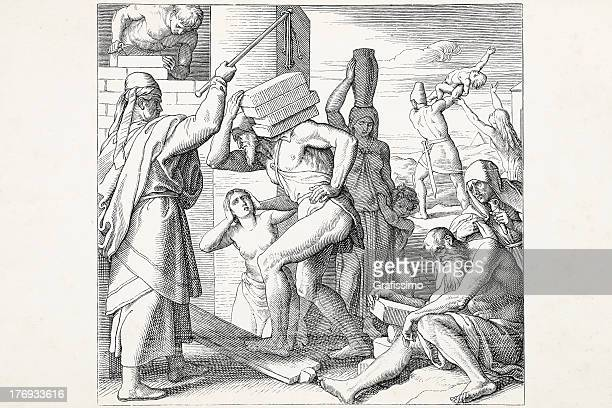 egyptians repressing israelis - old testament stock illustrations