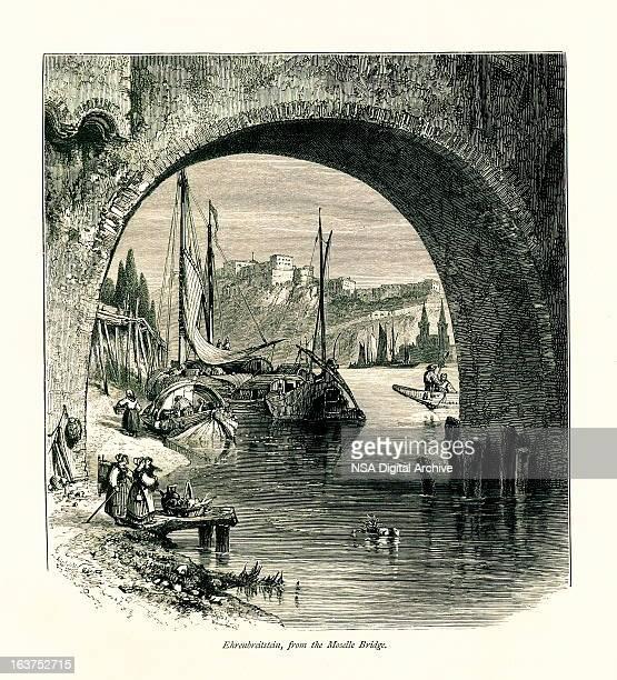 Ehrenbreitstein forteresse, Allemagne je antiquités européennes Illustrations