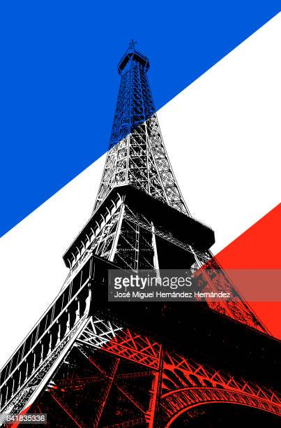 eiffel tower paris france illustration - france stock illustrations