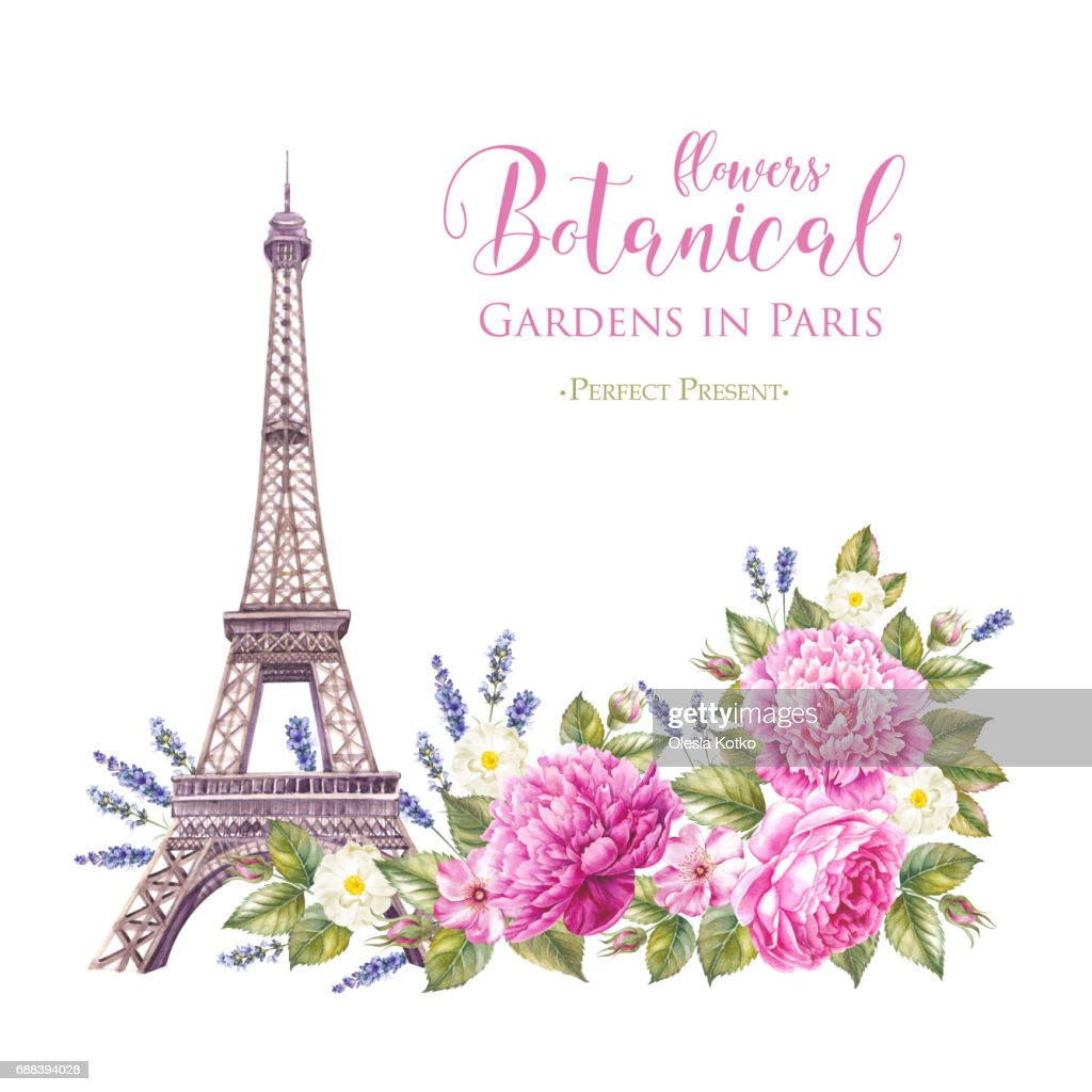Eiffel Tower With Spring Flowers Stock Illustration Getty Images