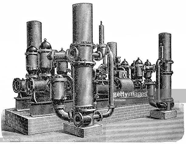 eight-acting steam pump - water treatment stock illustrations, clip art, cartoons, & icons