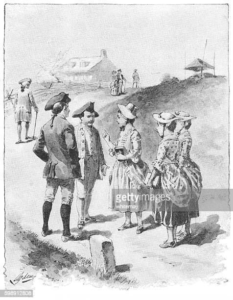eighteenth century america children walking home from church - sunday best stock illustrations, clip art, cartoons, & icons