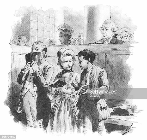 eighteenth century american children talking in church - naughty america stock illustrations, clip art, cartoons, & icons