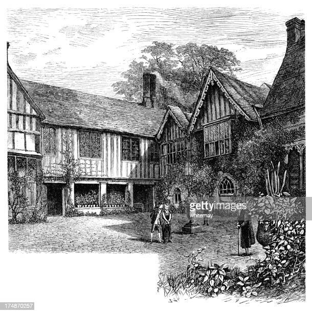 Eighteenth century characters at Ightham Mote (Victorian engraving)