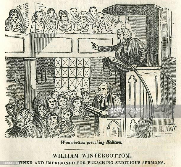eighteenth century clergyman preaching a seditious sermon - infamous stock illustrations, clip art, cartoons, & icons