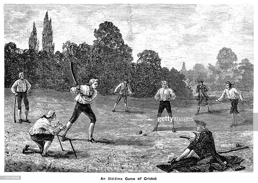 Eighteenth century cricket match : stock illustration