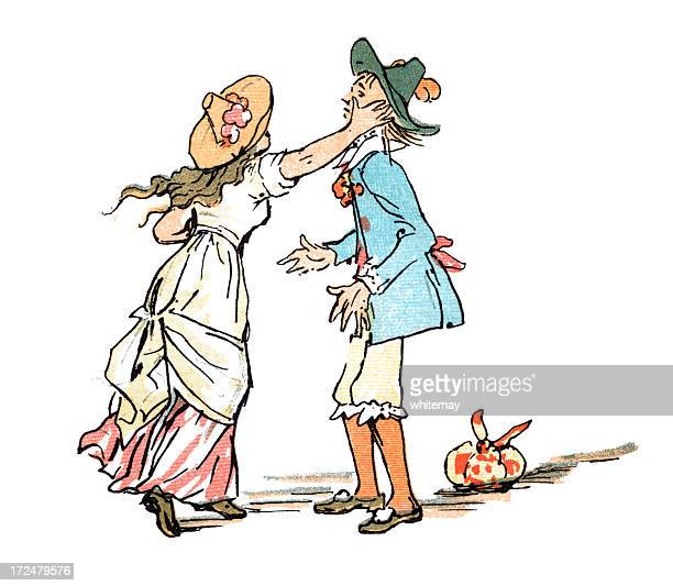 eighteenth century girl slapping a young man on the face - slapping stock illustrations, clip art, cartoons, & icons