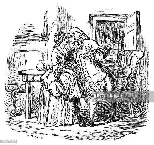 Eighteenth century man kissing his wife