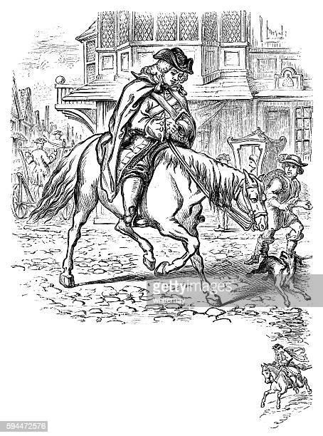 ilustraciones, imágenes clip art, dibujos animados e iconos de stock de eighteenth century man riding his horse in a cobbled street - maltrato infantil