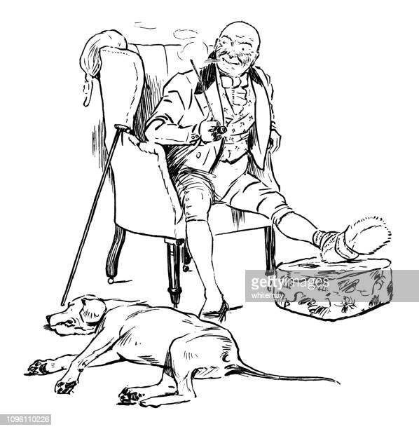 Eighteenth century man with gout, smoking a clay pipe while his dog sleeps