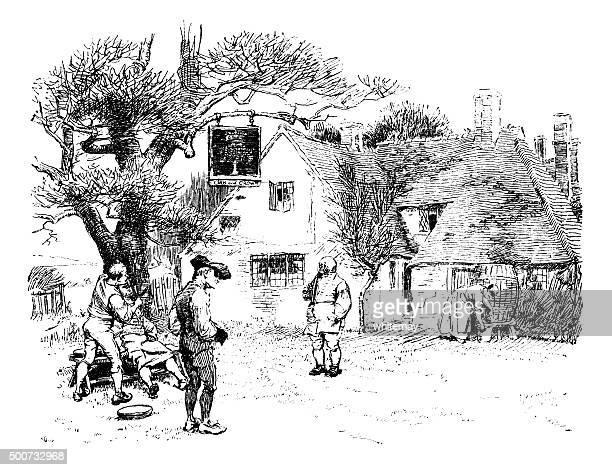 illustrations, cliparts, dessins animés et icônes de dix-huitième siècle, les gens en-dehors de la campagne inn - coiffeur humour