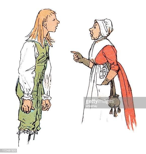 eighteenth century teenager arguing with his mother - family fighting cartoon stock illustrations