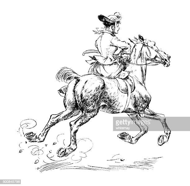 eighteenth century woman riding sidesaddle on a galloping horse - horse family stock illustrations, clip art, cartoons, & icons