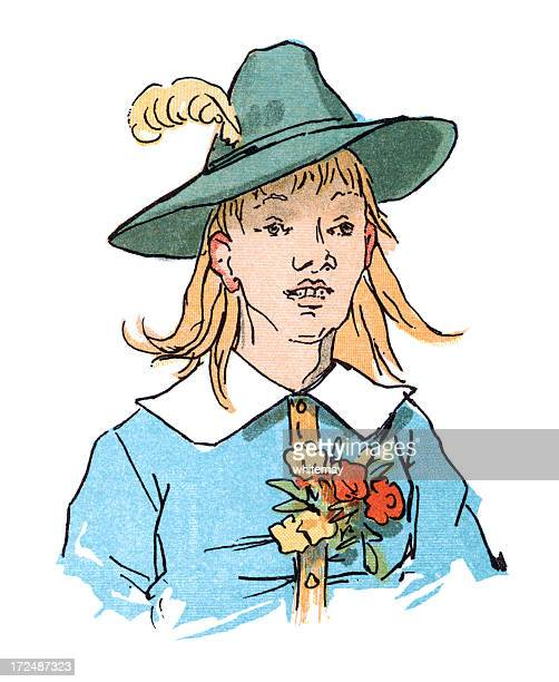 eighteenth century youth in a hat - sunday best stock illustrations, clip art, cartoons, & icons