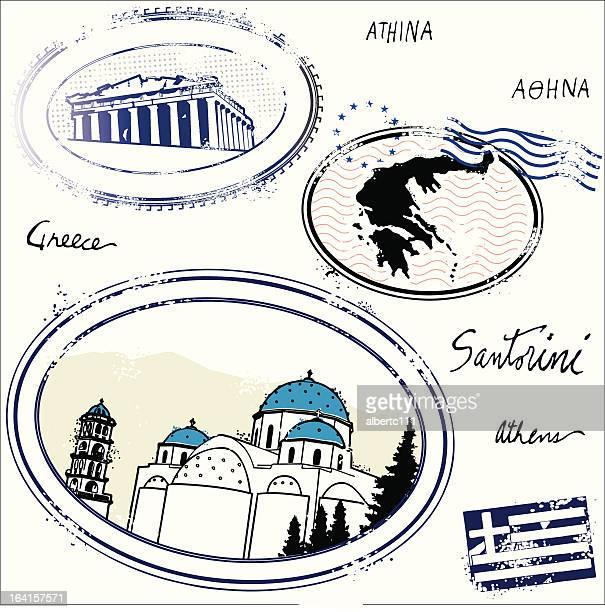 el greccos - santorini stock illustrations