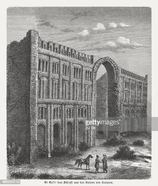 el kasr, palace of babylon, wood engraving, published in 1880 - ancient babylon stock illustrations