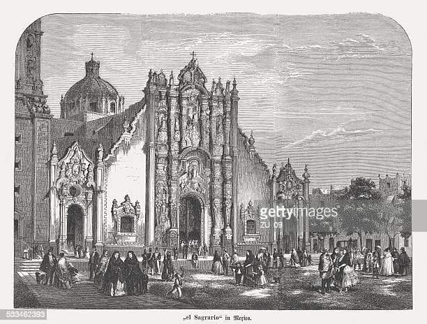 "el ""sagrario"", mexico city metropolitan cathedral, wood engraving, published 1872 - panama city stock illustrations, clip art, cartoons, & icons"