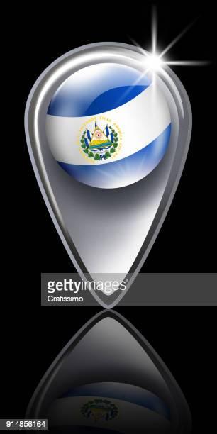 黒に分離されてエルサルバドルの旗を持つエル ・ サルバドル ボタン マップ ポインター - エルサルバドル国旗点のイラスト素材/クリップアート素材/マンガ素材/アイコン素材