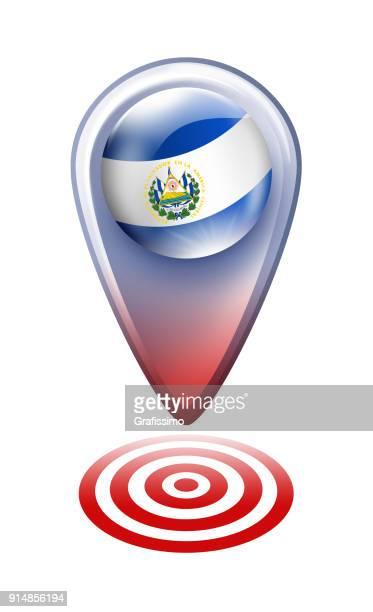 エルサルバドルの国旗が白で隔離とエルサルバドル ボタン マップ ポインター - エルサルバドル国旗点のイラスト素材/クリップアート素材/マンガ素材/アイコン素材