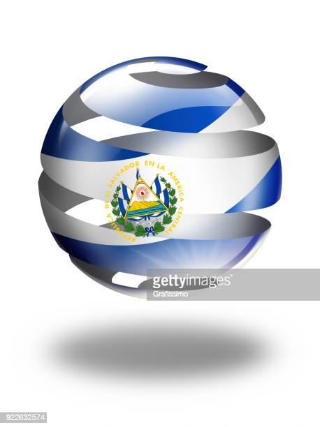 白で隔離フラグを持つエル ・ サルバドル ボタン - エルサルバドル国旗点のイラスト素材/クリップアート素材/マンガ素材/アイコン素材