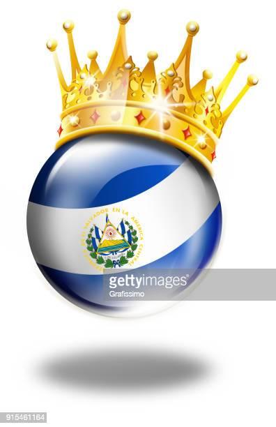 エルサルバドルの旗、優勝冠白で隔離とエルサルバドル ボタン - エルサルバドル国旗点のイラスト素材/クリップアート素材/マンガ素材/アイコン素材
