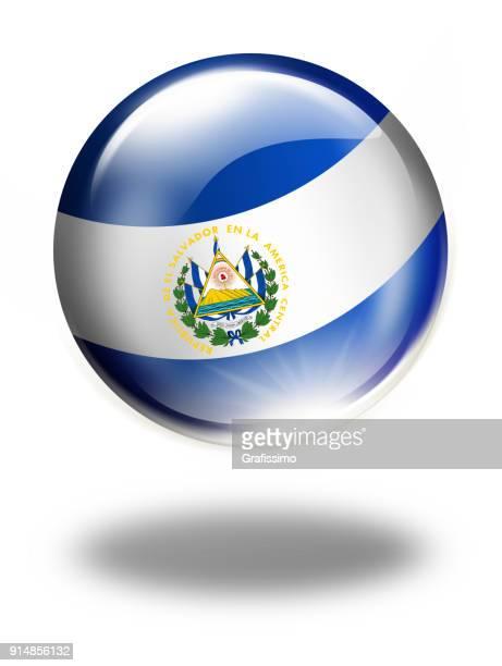 エルサルバドルの国旗が白で隔離とエルサルバドル ボタン - エルサルバドル国旗点のイラスト素材/クリップアート素材/マンガ素材/アイコン素材