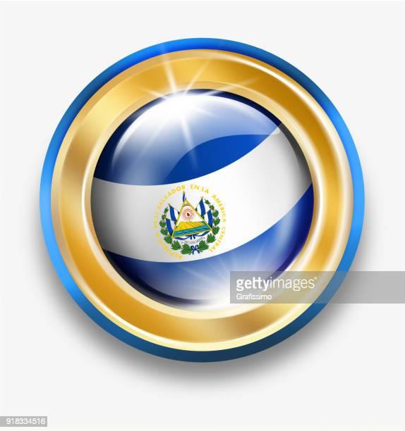 白で隔離フラグとエルサルバドル ゴールデン ボタン - エルサルバドル国旗点のイラスト素材/クリップアート素材/マンガ素材/アイコン素材