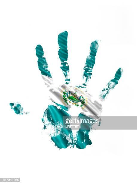 エルサルバドル手の印刷フラグ - エルサルバドル国旗点のイラスト素材/クリップアート素材/マンガ素材/アイコン素材