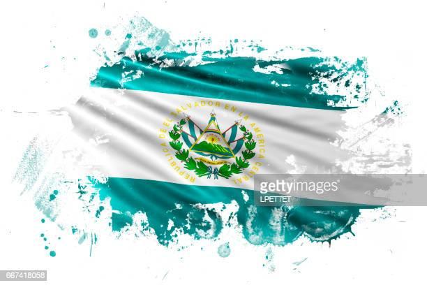 エル ・ サルバドル インク グランジ フラグ - エルサルバドル国旗点のイラスト素材/クリップアート素材/マンガ素材/アイコン素材