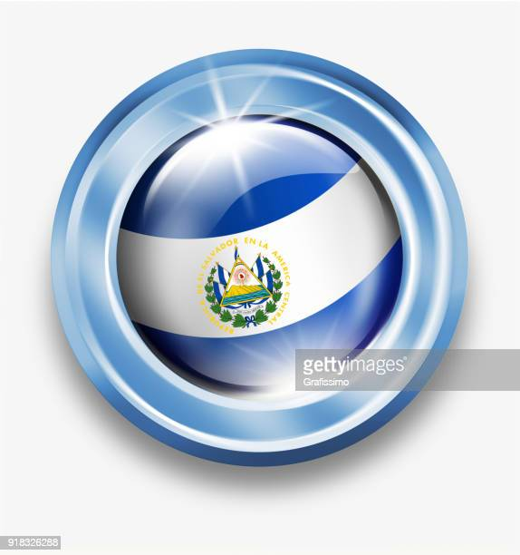 白で隔離フラグとエルサルバドル銀ボタン - エルサルバドル国旗点のイラスト素材/クリップアート素材/マンガ素材/アイコン素材