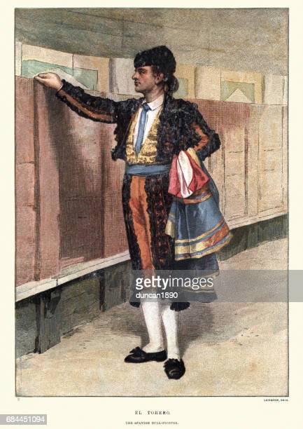 el torero, the spanish bullfighter, 19th century - bullfighter stock illustrations, clip art, cartoons, & icons