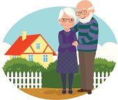 Elderly couple at their home