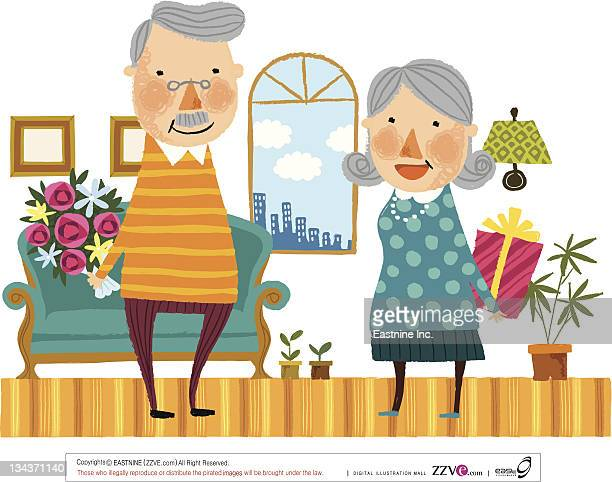 Elderly couple hiding gifts from each other