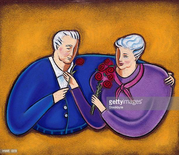 Elderly man and woman in embrace
