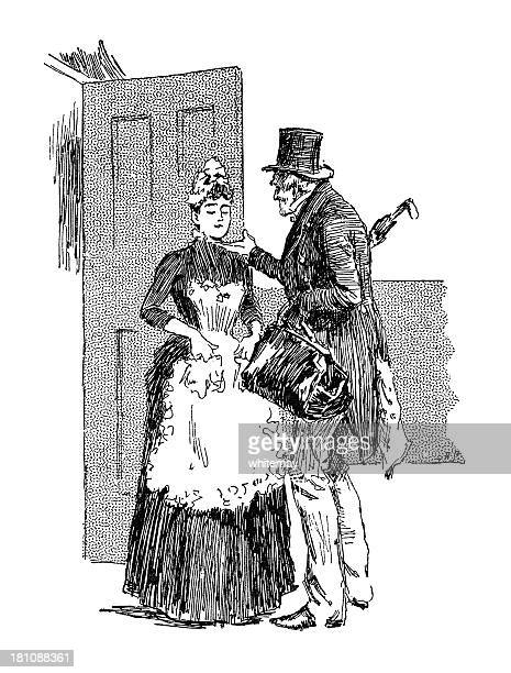 elderly man chucking a housemaid under the chin - sexual harassment stock illustrations, clip art, cartoons, & icons