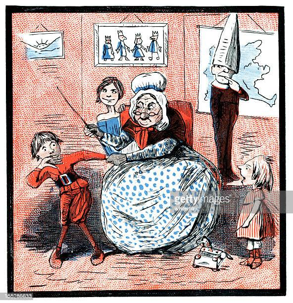 Elderly schoolma'am punishing a boy (Victorian cartoon)
