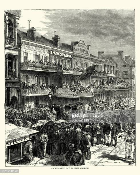election day in new orleans, 19th century - political rally stock illustrations, clip art, cartoons, & icons