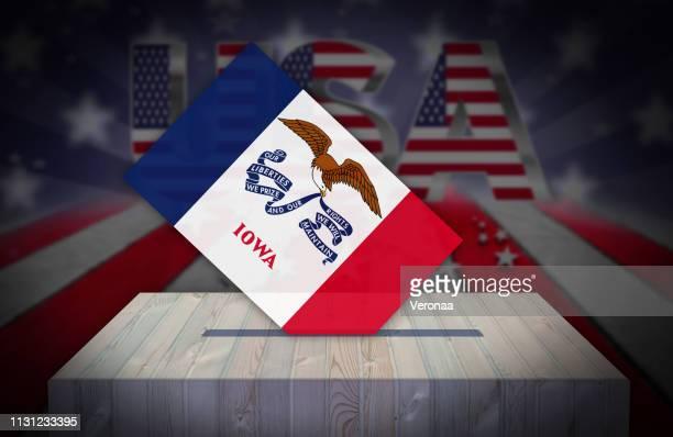 illustrazioni stock, clip art, cartoni animati e icone di tendenza di election day in the united states of america - iowa - raduno politico
