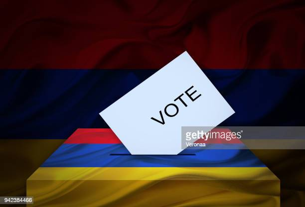 election in armenia - voting at the ballot box - armenian flag stock illustrations