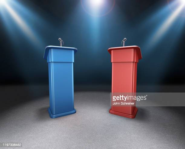 election podiums - debate stock illustrations