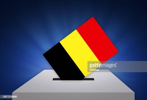 ilustraciones, imágenes clip art, dibujos animados e iconos de stock de elecciones - voto en bélgica - urna de voto