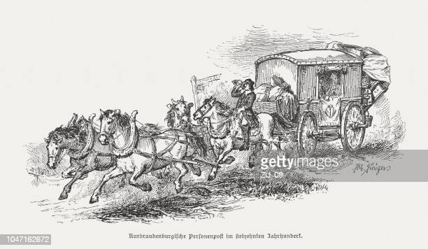 electoral brandenburg stagecoach, 17th century, wood engraving, published in 1885 - brandenburg gate stock illustrations, clip art, cartoons, & icons