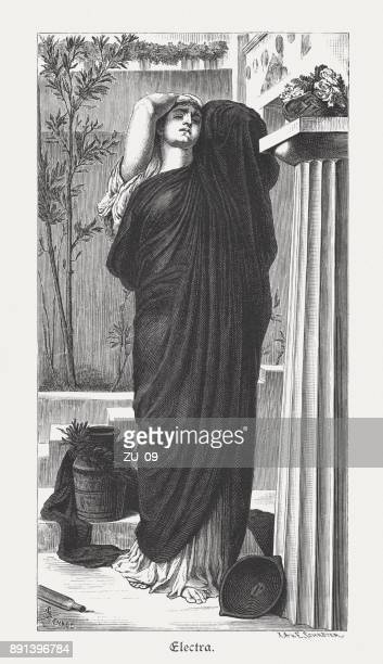electra, greek mythology, painted (1868/69) by frederic leighton, published 1879 - mycenae stock illustrations